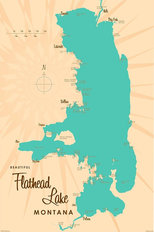 Flathead Lake, MT Lake Map Wallpaper Mural