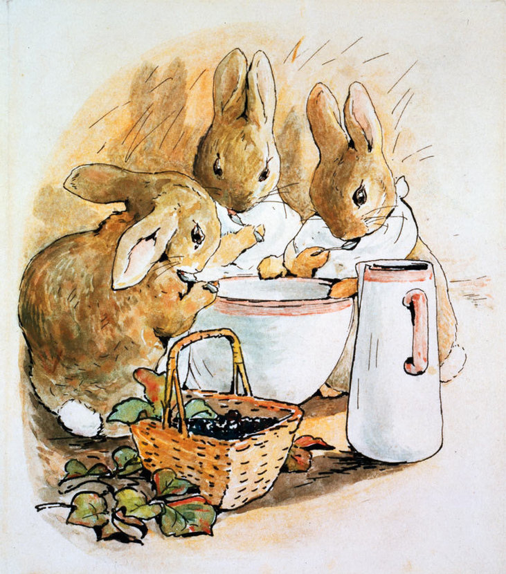 peter rabbits sisters flopsy mopsy and cottentail are eating blackberries and milk in an illustration by beatrix potter