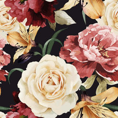 Floral Rose Pattern Wallpaper