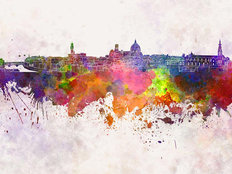 Florence Watercolor Skyline Wallpaper Mural