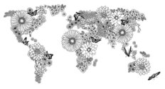 Flower Power World Map Wallpaper Mural