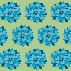 Flowers - Green & Blue Wallpaper