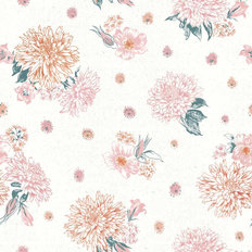 Flowers on White Pattern Wallpaper Mural