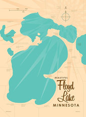 Floyd Lake, MN Lake Map Wall Mural