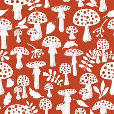 Forest Mushroom Pattern Wallpaper