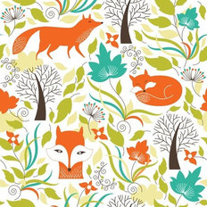 Foxes And Colorful Leaves Pattern Wallpaper