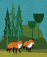 Foxes in The Woods Wallpaper Mural