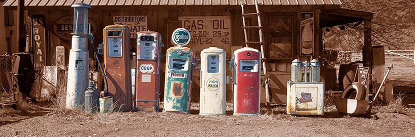 Fuel Pumps At Gasoline Alley Museum Wall Mural