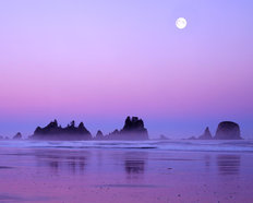 Full Moon Above Seastacks Mural Wallpaper