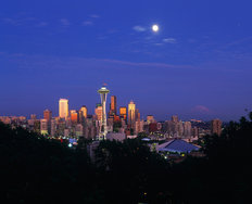 Full Moon Over Seattle Wall Mural