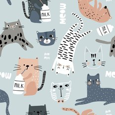 Funny Cat Pattern Wallpaper