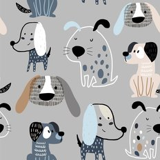 Funny Creative Dog Pattern Wallpaper
