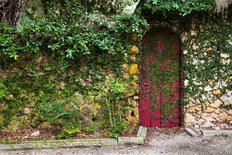 Garden Cottage Door Wall Mural