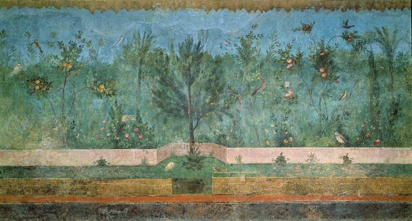 villa of livia painted garden wall fresco featuring flora and fauna of ancient rome with fruit trees palms plants and birds wall mural