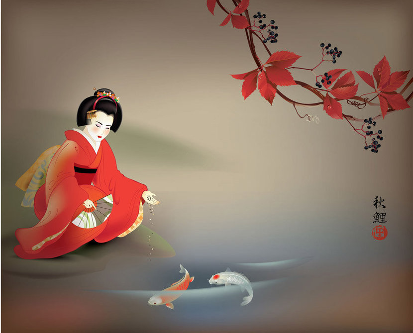 Geisha dressed in a red kimono kneels next to a river and feeds the koi fish swimming in the water