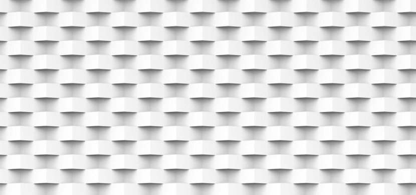 Geometric 3D square-like pattern constructed of white shapes weaves in and out