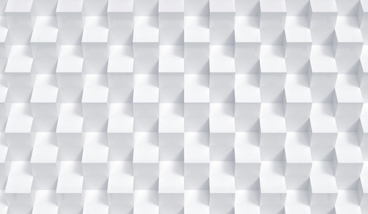 3D Geometric White cube pattern perfectly aligned.