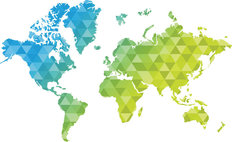Geometric World Map Mural Wallpaper