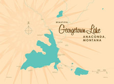 Georgetown Lake, MT Lake Map Wall Mural