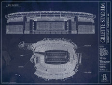 Gillette Stadium Blueprint Mural Wallpaper
