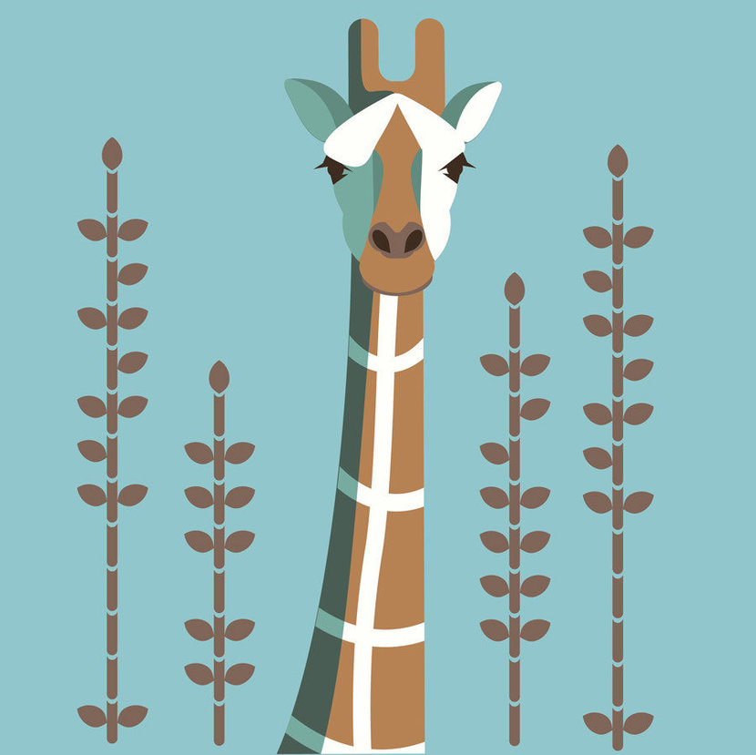 illustrated giraffe on a blue background with tall plants
