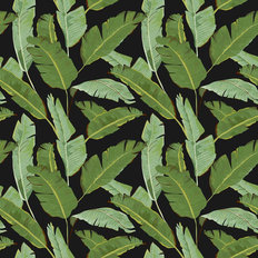 Golden Gal Banana Leaf Pattern - Black Wallpaper