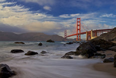Golden Gate Bridge At Sunset Wall Mural