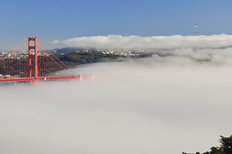 Golden Gate Bridge in Fog Wallpaper Mural
