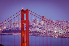 Golden Gate Twilight Lights Wallpaper Mural