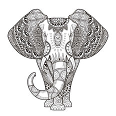 Graceful Elephant Coloring Illustration Mural Wallpaper