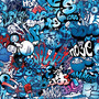 Dope blue graffiti art filled with drawings, cartoons, and words