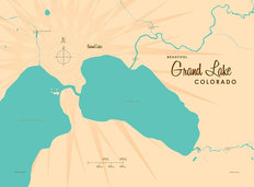 Grand Lake, CO Lake Map Wallpaper Mural