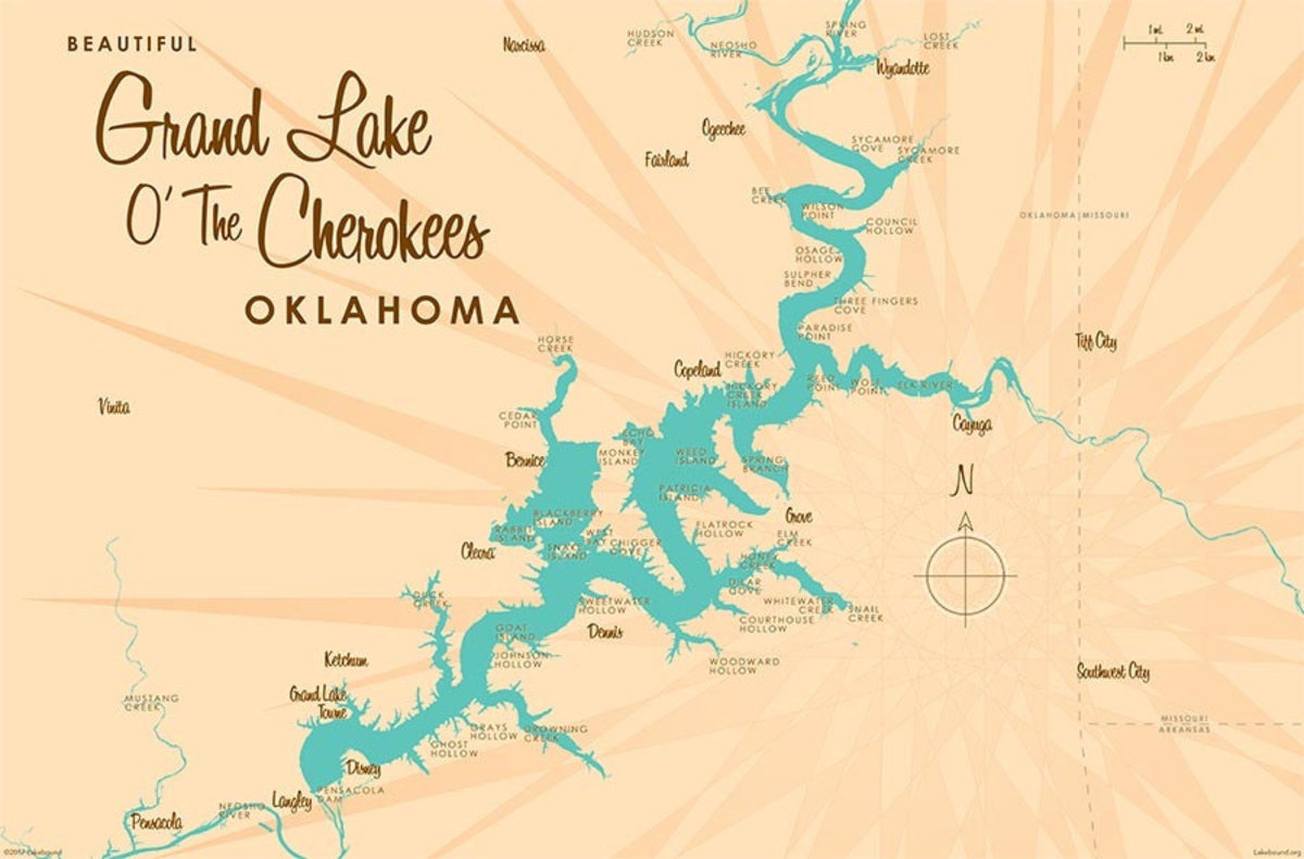 Grand Lake O' The Cherokees, OK Lake Map Wall Mural