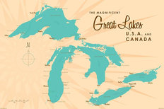 Great Lakes Lake Map Wallpaper Mural