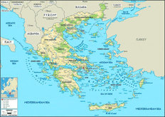 Greece Map Wallpaper Mural