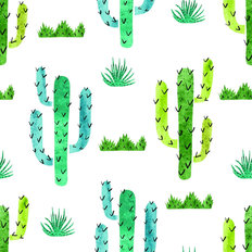Green and Blue Cactus Pattern Wallpaper