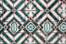 Green And Pink Tile Wall Mural