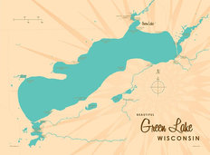 Green Lake, WI Lake Map Mural Wallpaper