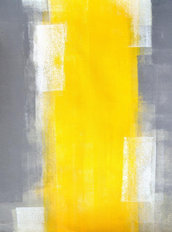 Grey and Yellow Abstract Art Painting 2 Wall Mural