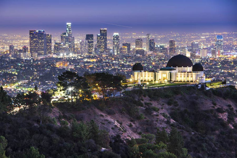 Griffith Osbervatory and Downtown Los Angeles Wallpaper Mural