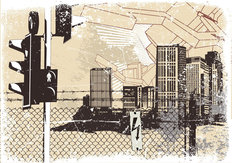 Grunge City Illustration Wall Mural