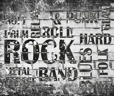 Brick Rock Music Collage  Wall Mural