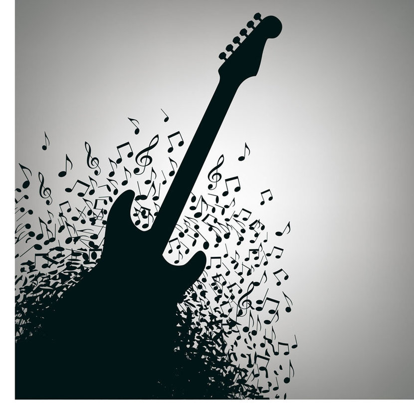 Rock n roll guitar is exploding with music notes