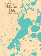 Gull Lake Chain, MN Lake Map Wall Mural