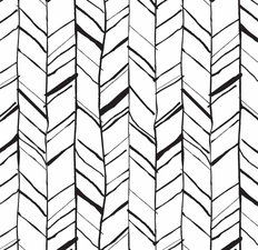 Hand Drawn Black & White Herringbone Pattern Wallpaper