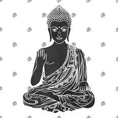 Hand Drawn Buddha Wallpaper Mural