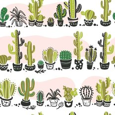 Hand Drawn Cacti On White Pattern Wallpaper