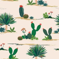 Hand Drawn Cactus And Succulent Plants Pattern Wallpaper