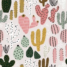 Hand Drawn Colorful Cactuses Pattern Wallpaper