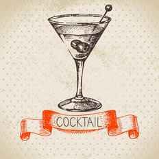 Cocktail Illustration Mural Wallpaper
